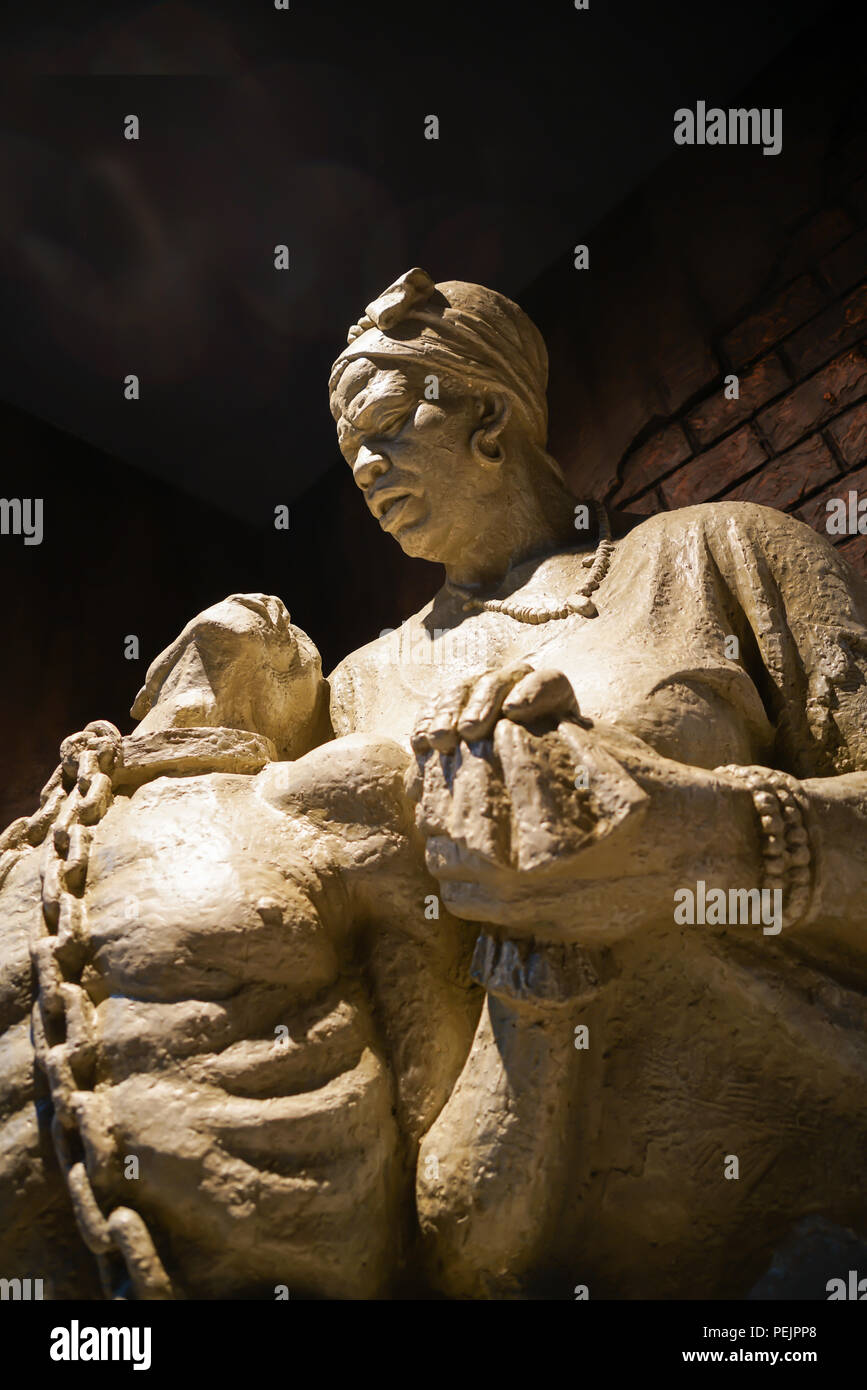 WINDHOEK NAMIBIA - MAY 11 2018; Statue of two people showing the pian and anguish of the period of African slavery. - Stock Image