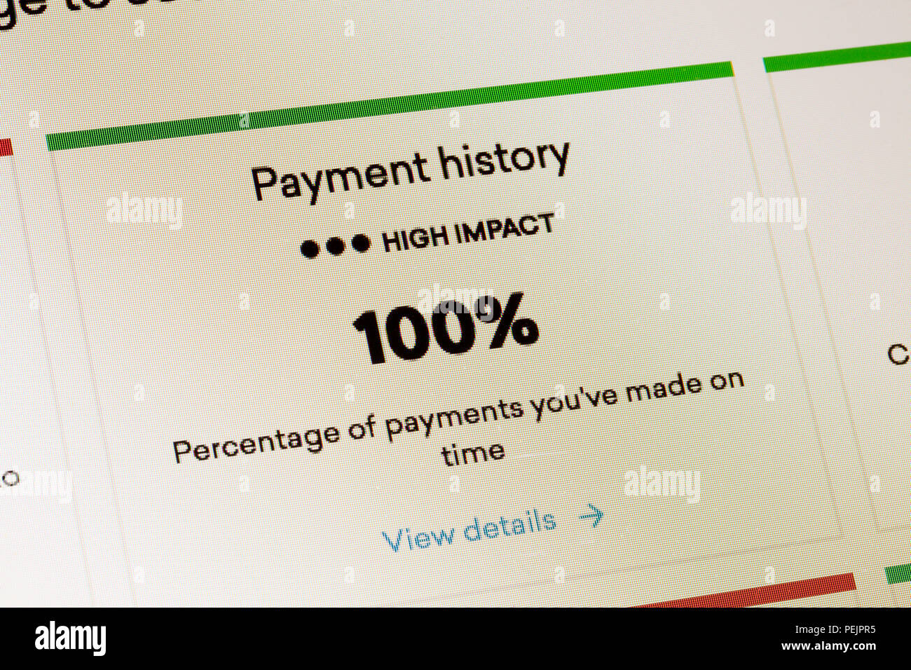Payment history impact on FICO score (credit score rating) - USA - Stock Image