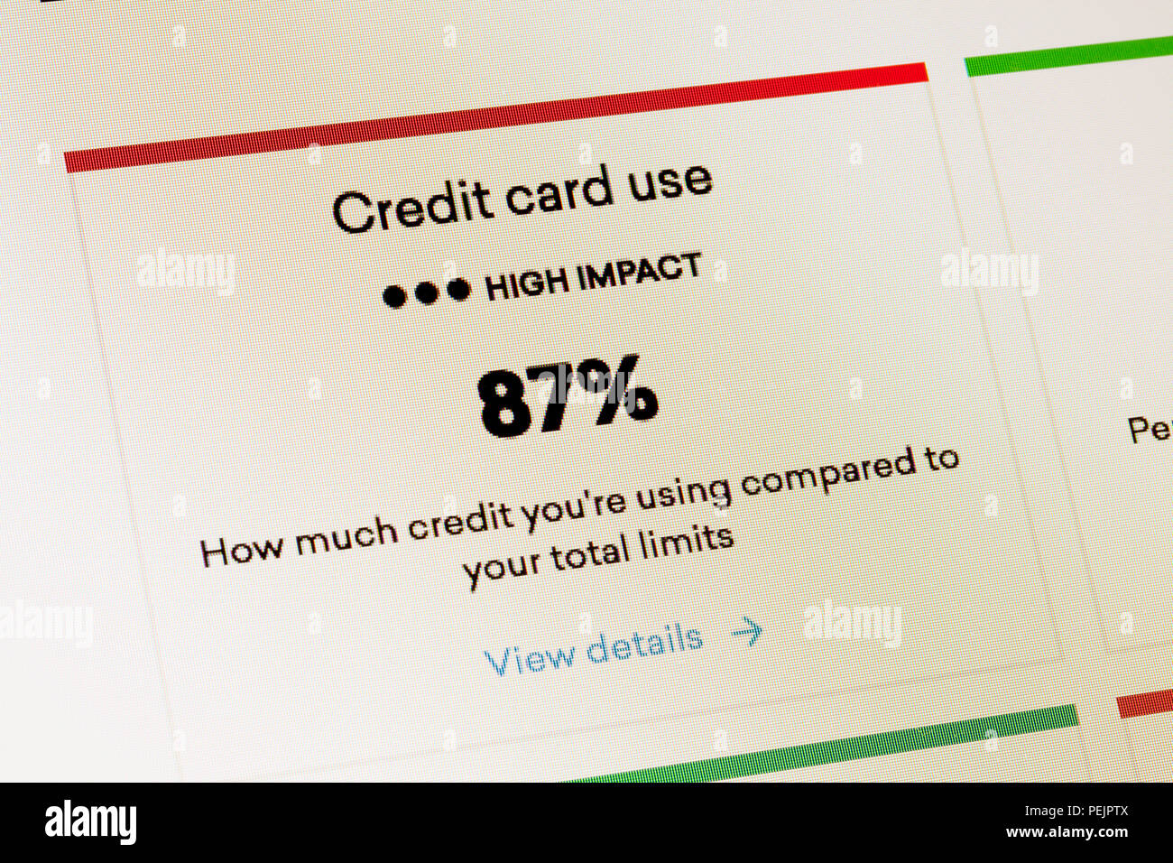Credit card use impact on FICO credit score rating - USA - Stock Image
