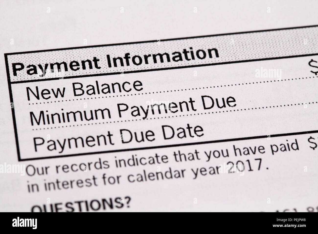 Home mortgage loan monthly statement showing payment information - USA - Stock Image