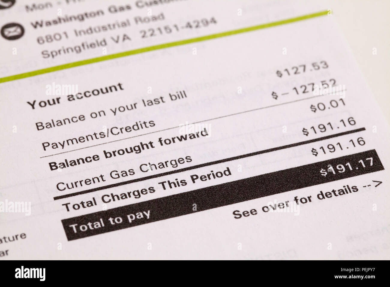 Gas Bill High Resolution Stock Photography And Images Alamy