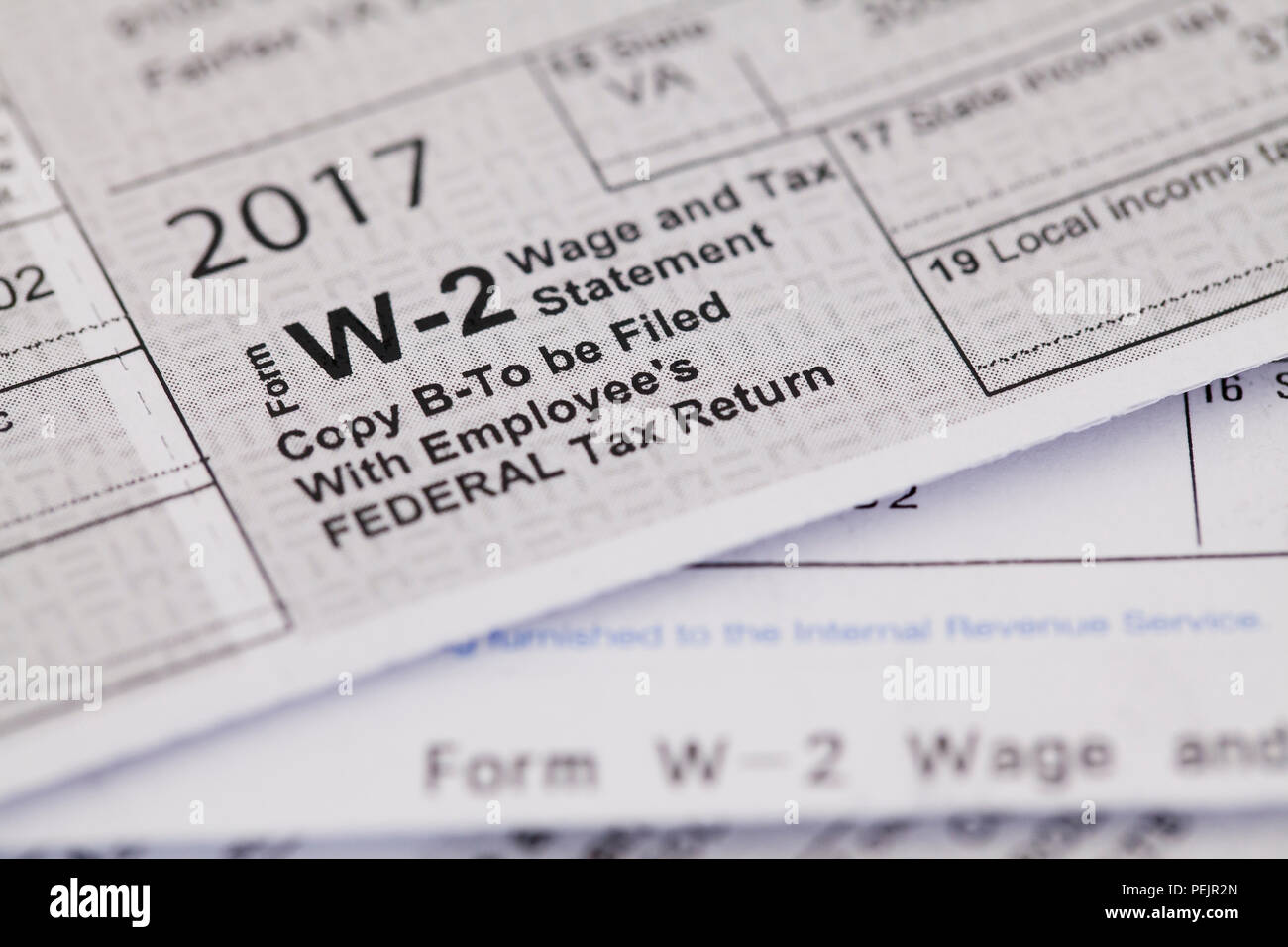 2017 W-2, Federal Wage and Tax, statement - USA - Stock Image