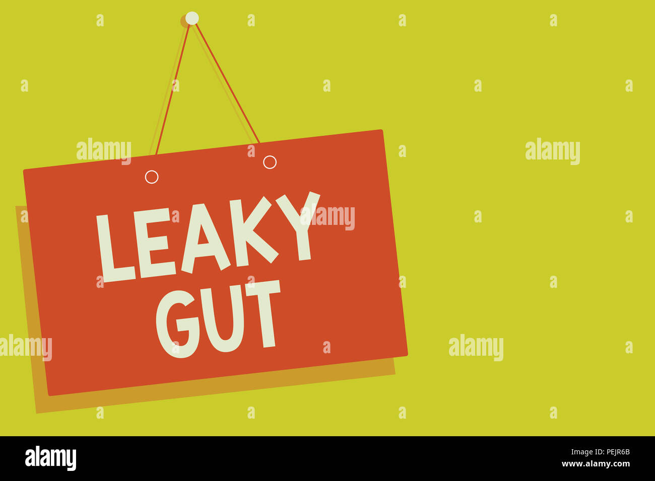 Handwriting text Leaky Gut. Concept meaning A condition in which the lining of small intestine is damaged Red board wall message communication open cl - Stock Image