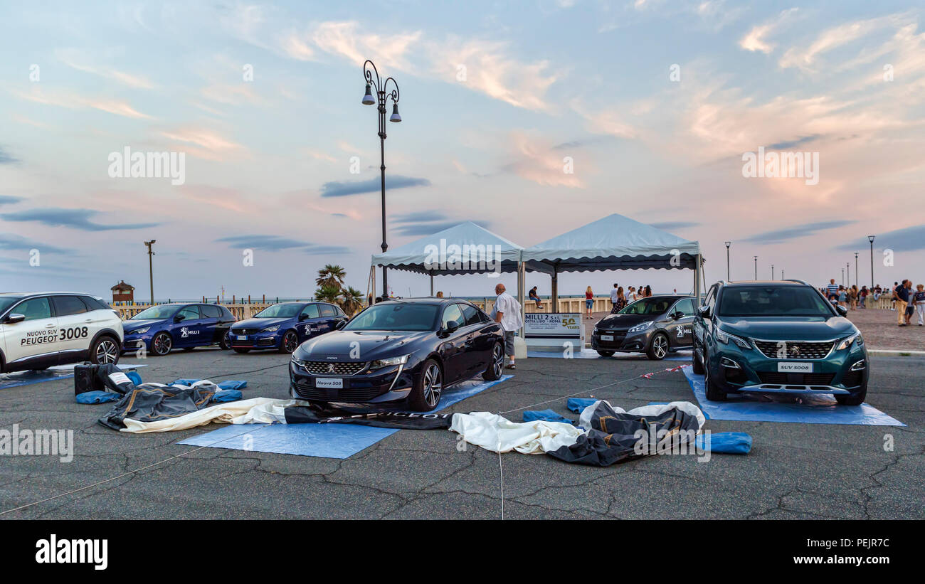 Rome,Italy - July 21, 2018:On occasion of Rome's Rally event, the motor showrooms exhibit new cars models in Rome in outdoors Peugeot stand . - Stock Image