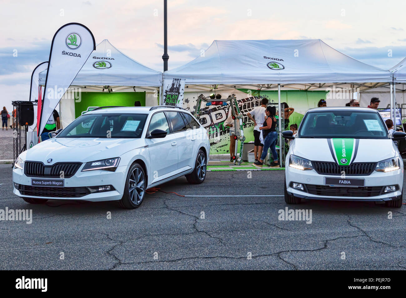 Rome,Italy - July 21, 2018:On occasion of Rome's Rally event, the motor showrooms exhibit new cars models in Rome in outdoors Skoda stand . - Stock Image