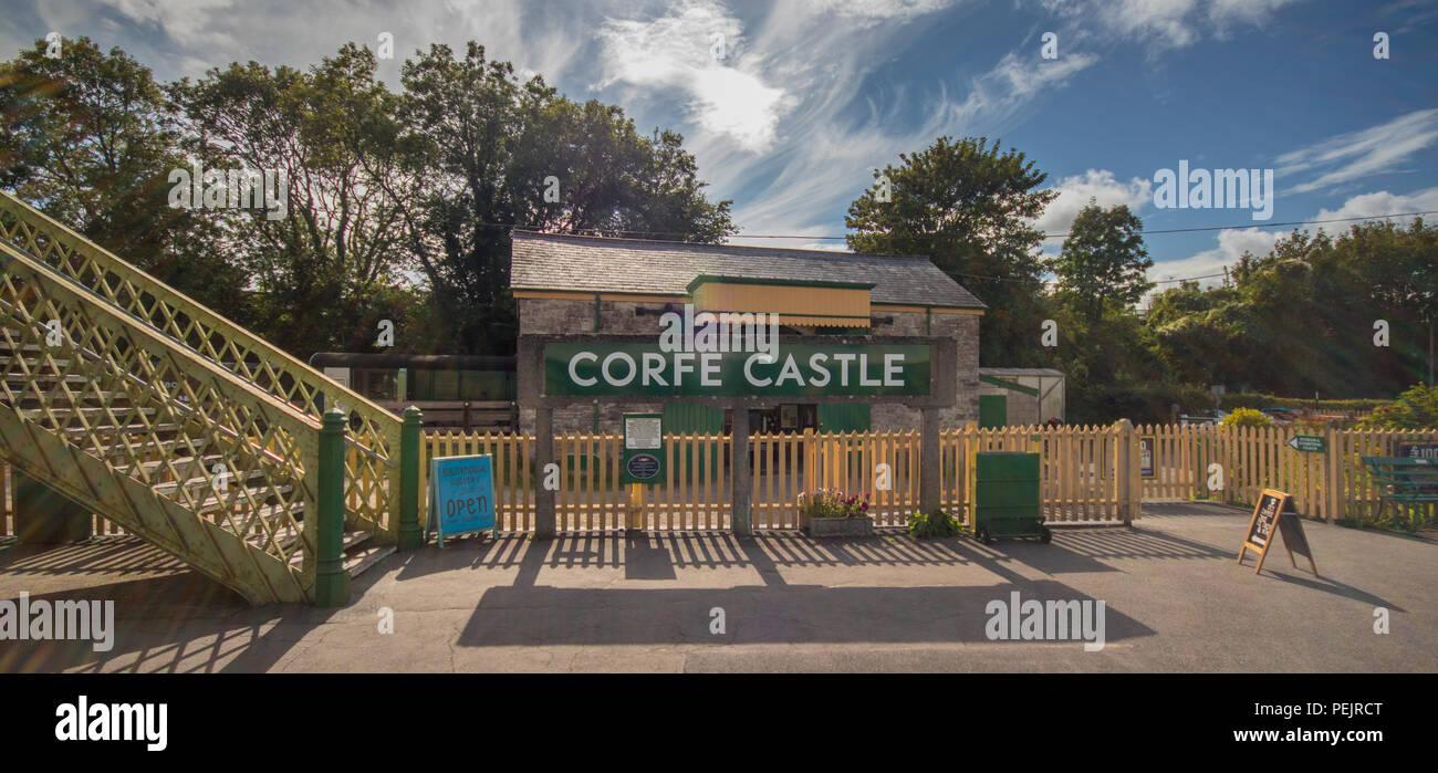 Corfe Castle train station, Swanage Railway, near Wareham, Dorset, UK - Stock Image