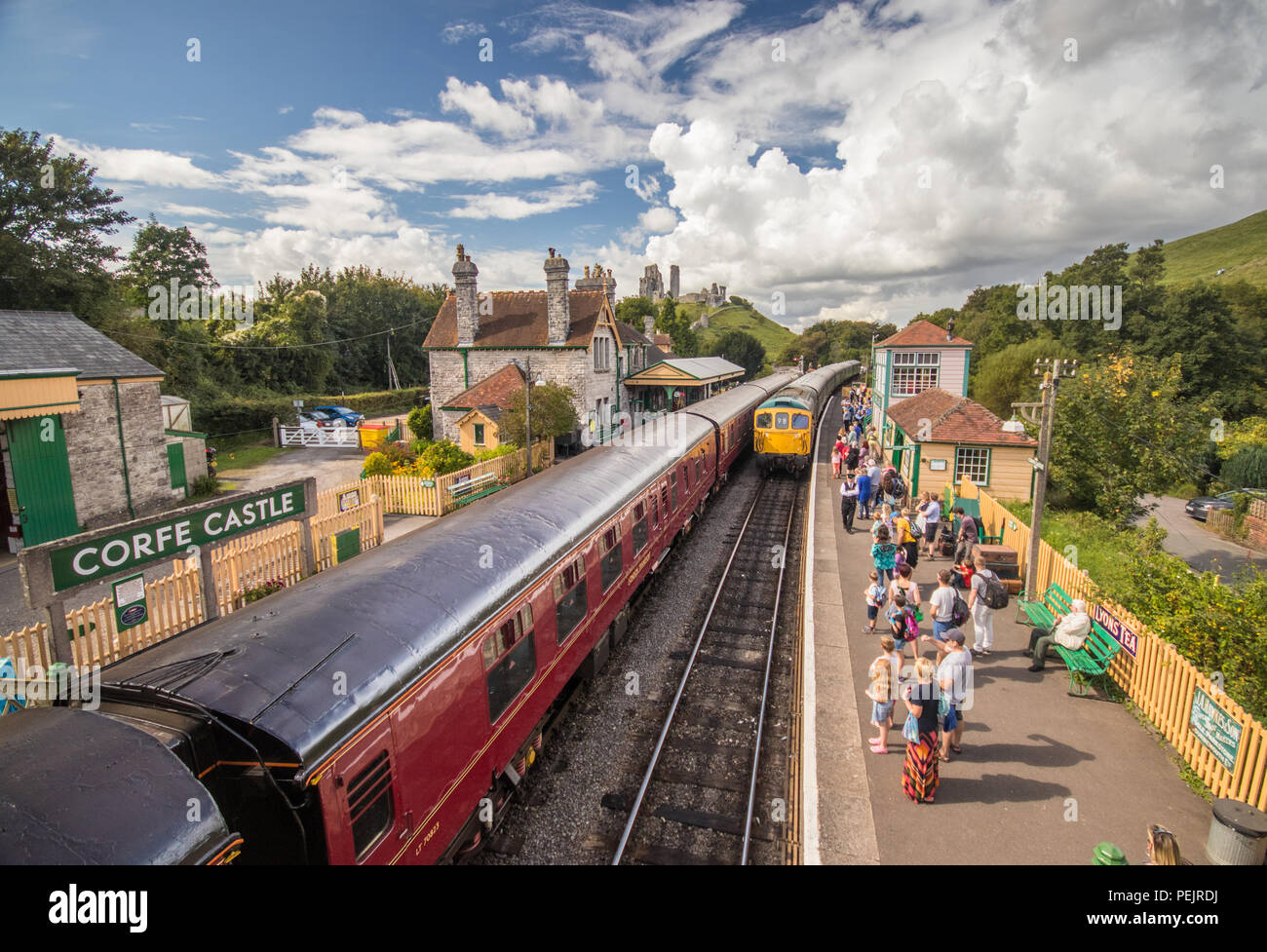 Corfe Castle train station, Swanage Railway, near Wareham, Dorset, UK - Stock Image