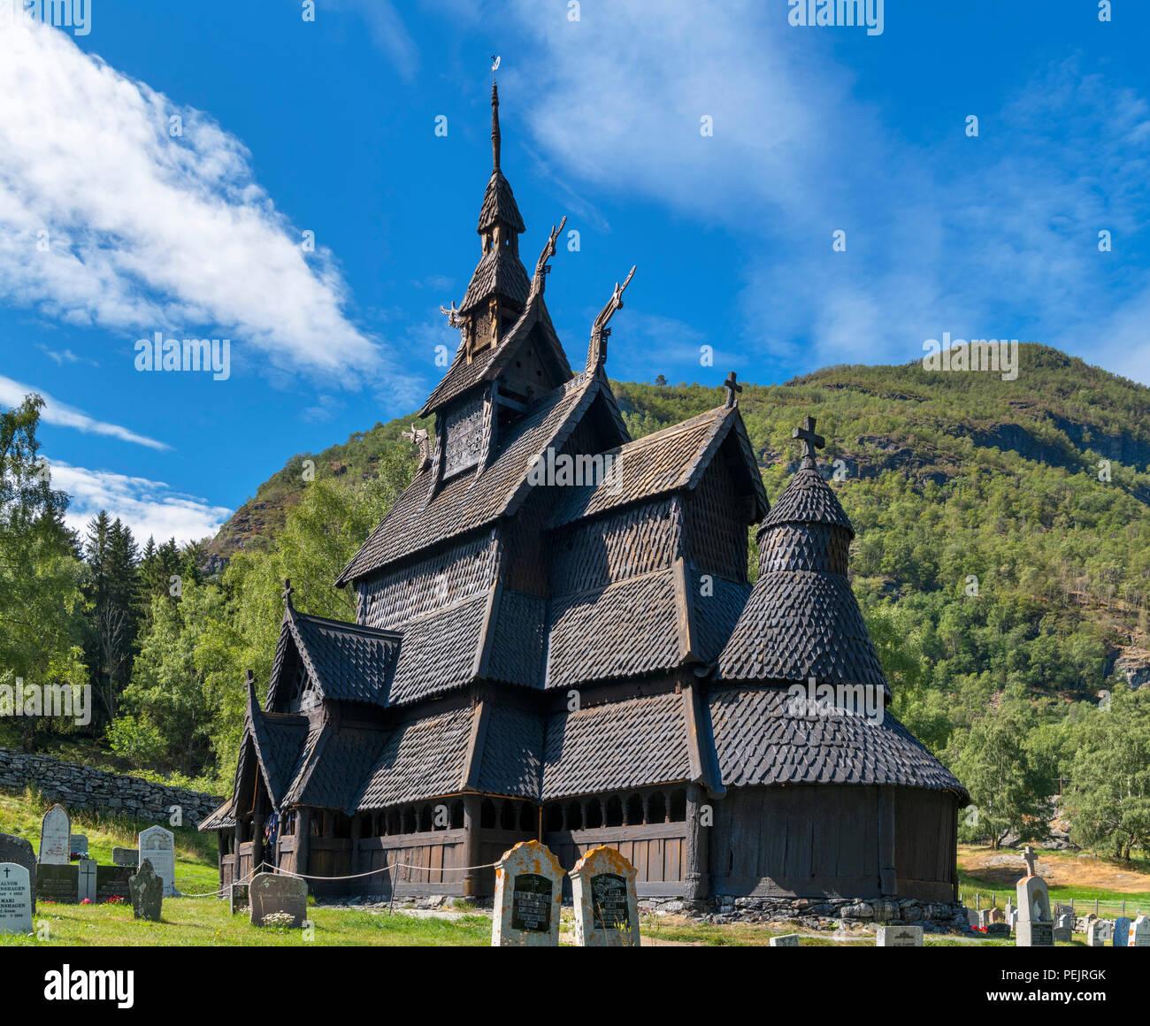 Borgund Stave Church (Borgund stavkyrkje), Borgund, Lærdal, Norway - Stock Image