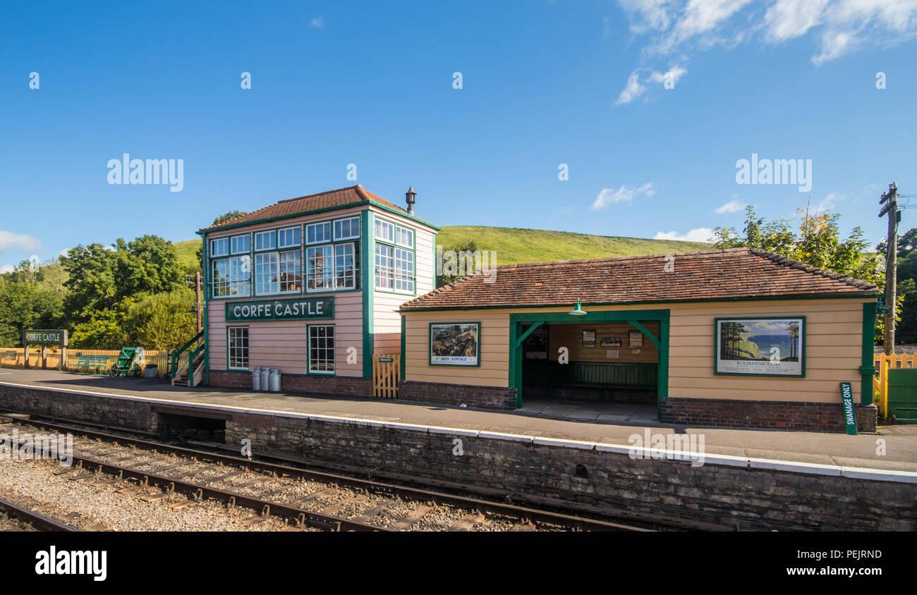 Corfe Castle train station, Swanage Railway, Dorset, UK - Stock Image