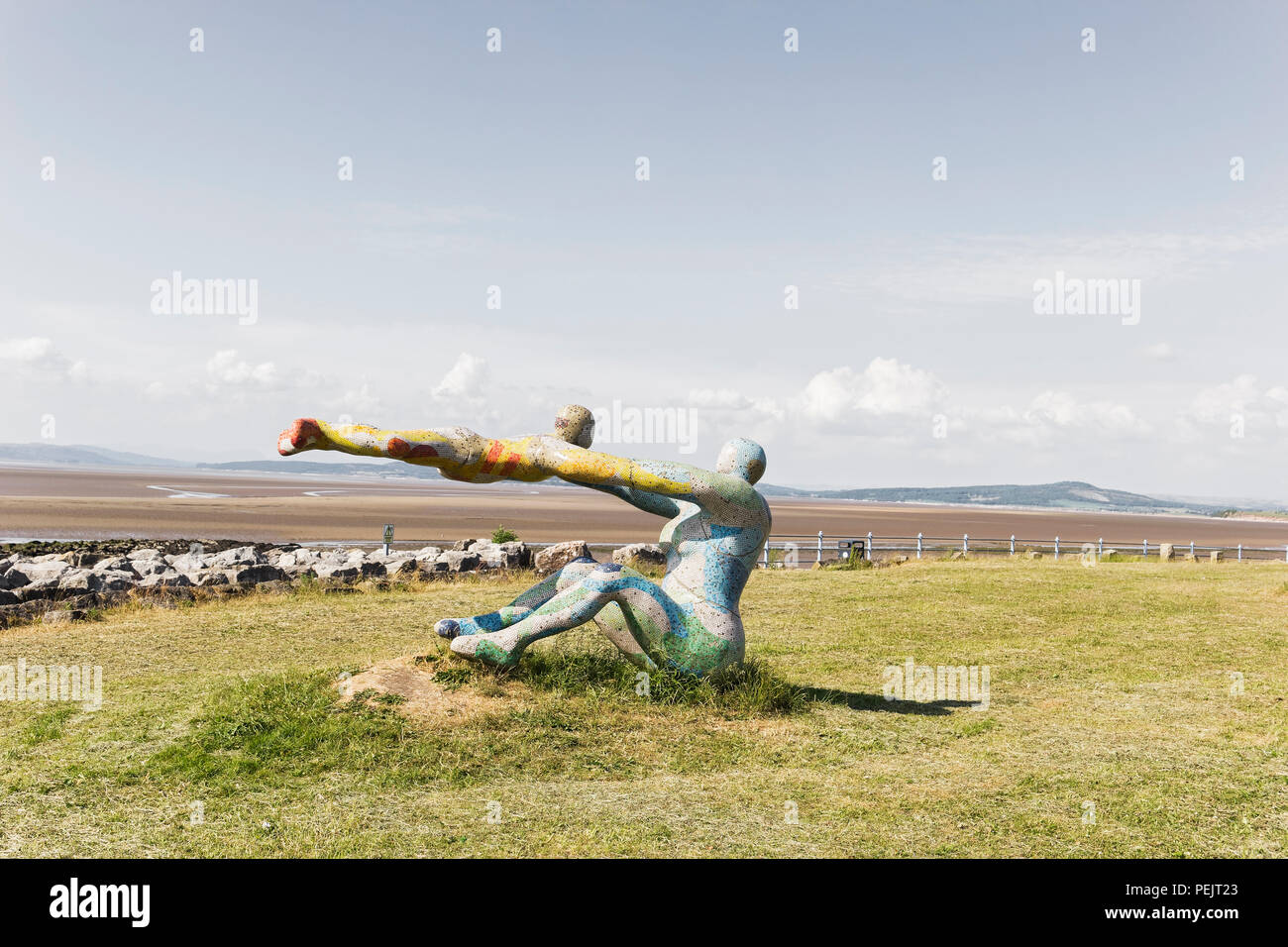 Public art at Morecambe Bay, Lancaster, Lancashire, UK is known as Venus and Cupid although the original title 'Love, The Most Beautiful of Disasters' - Stock Image