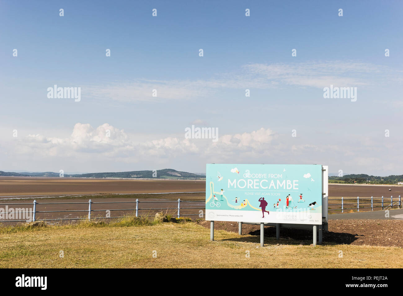 Morecambe sign at the seaside resort in Lancashire, UK - Stock Image