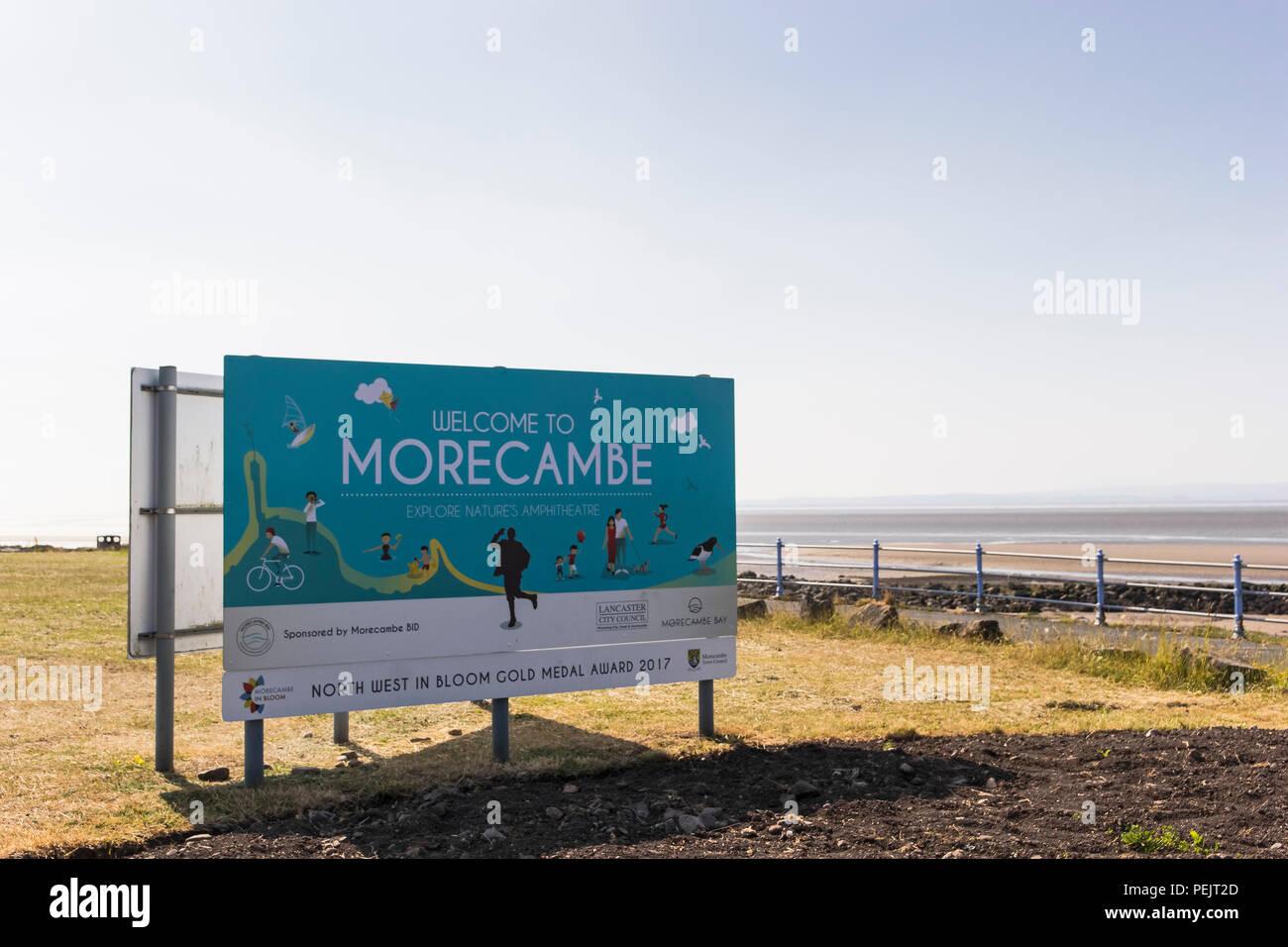 Morecambe sign at the seaside resort in Lancashire, UK - Stock Image