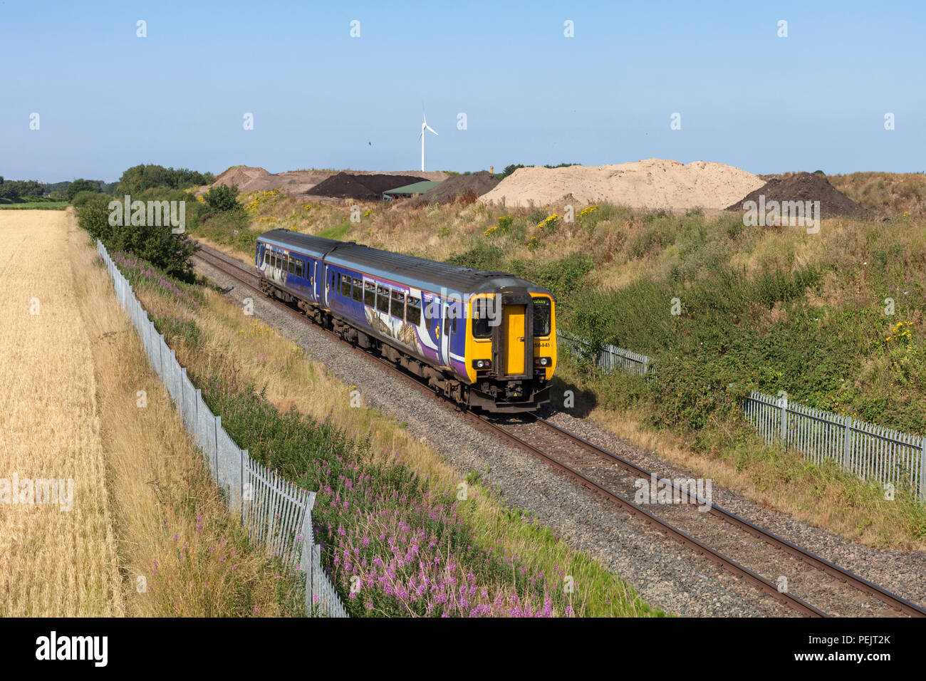 Nortehrn rail class 16 sprinter train 156441  passing Bickerstaffe on the single track Wigan to Kirkby railway line - Stock Image