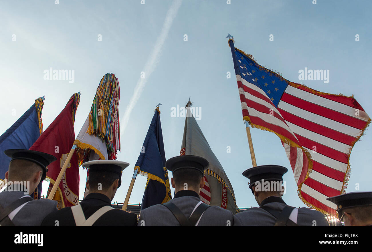 An Army - Navy combined color guard march out the colors prior to ... de4be174c