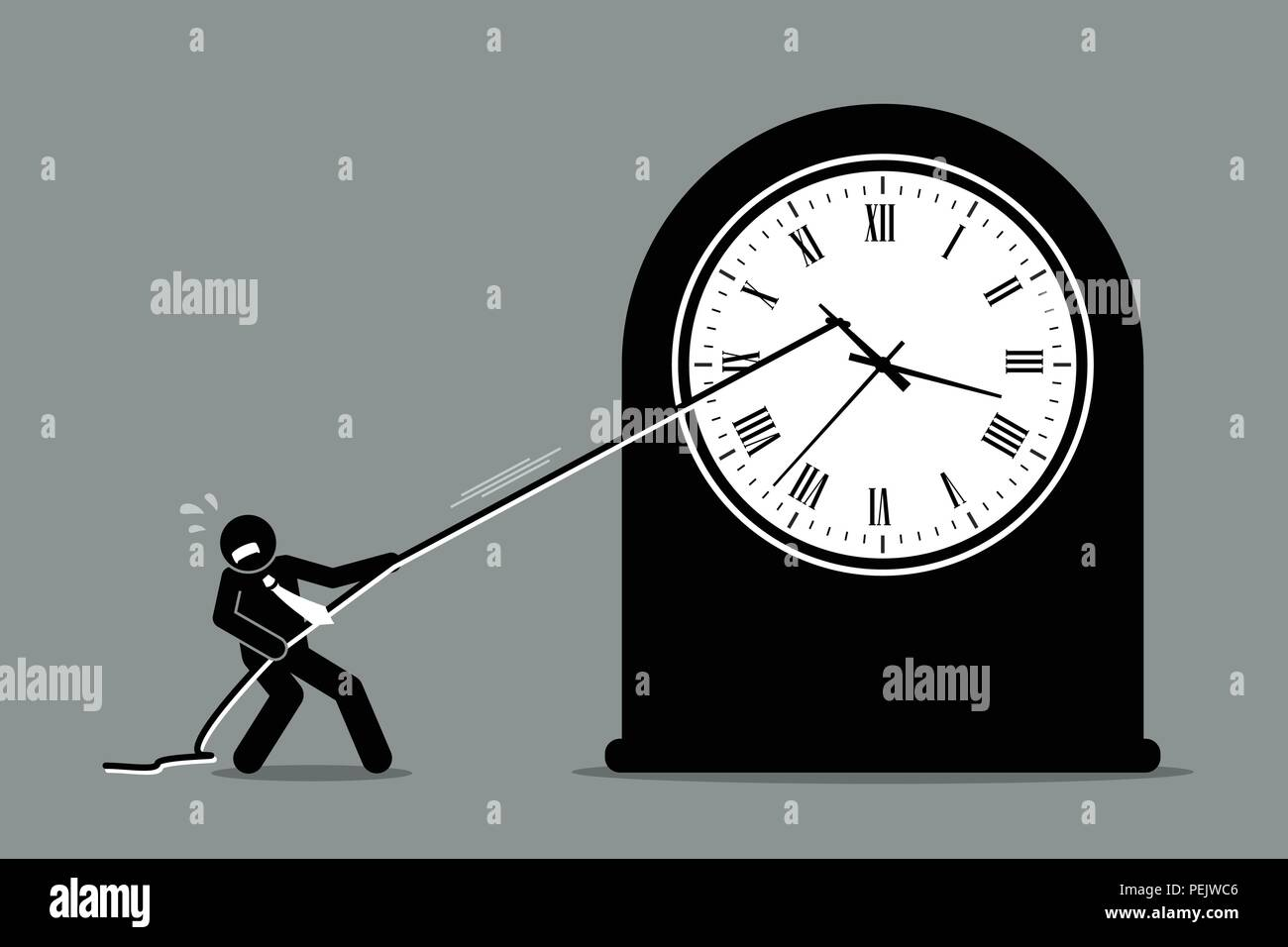 Vector artwork depicts the concept of turning back time and stopping the time because of business crisis and problem. - Stock Vector
