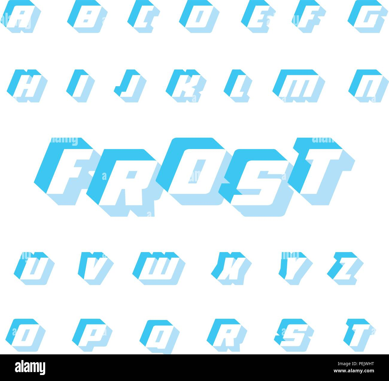 3D letters with shadow. Bold and italic square typography. Frozen ice cubes. Symbols collection on white background.