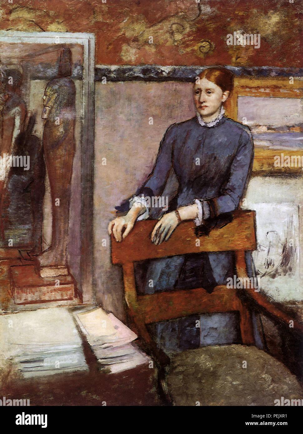Woman in a Study, Degas, Edgar - Stock Image