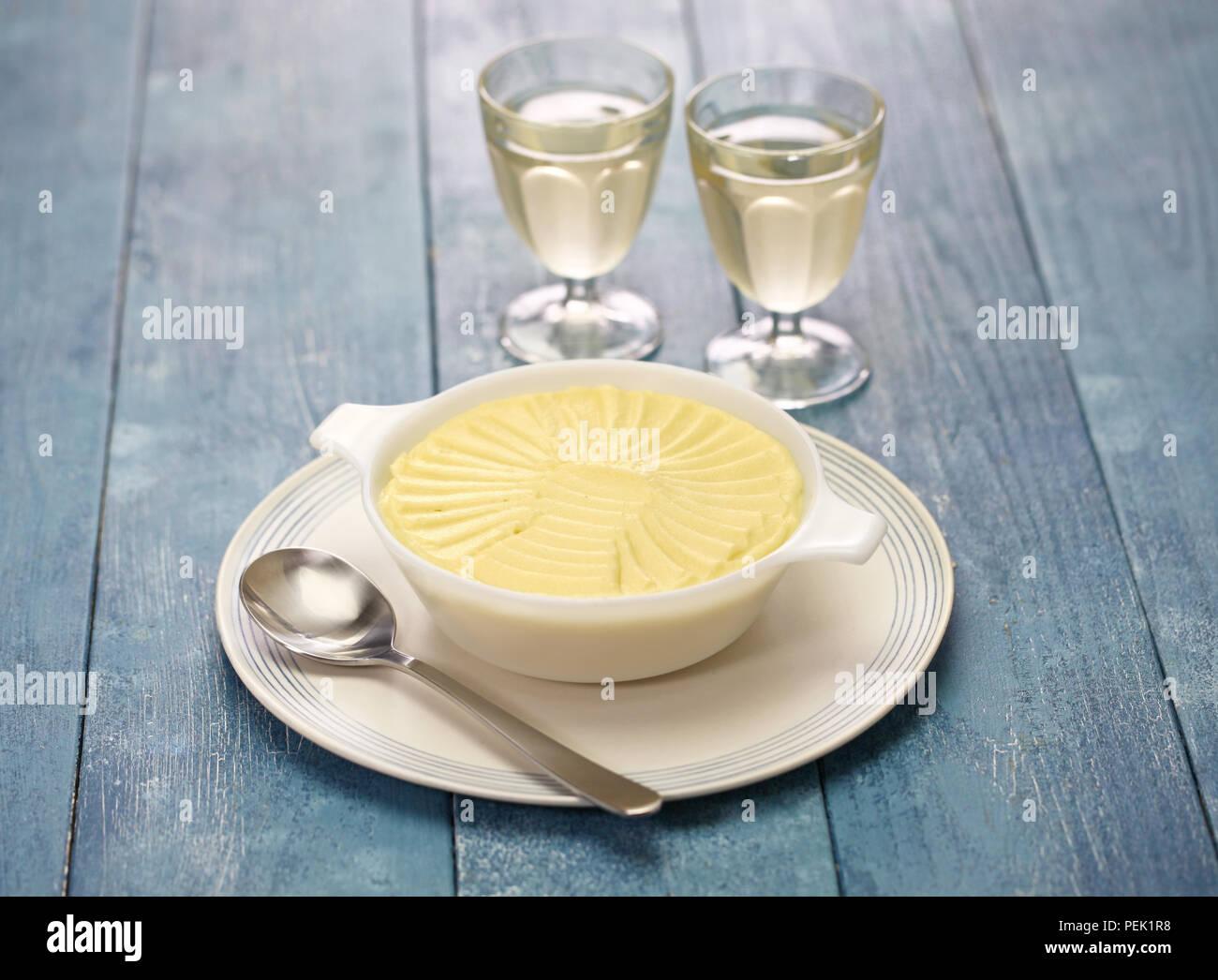 homemade smooth creamy potato puree, french side dish - Stock Image