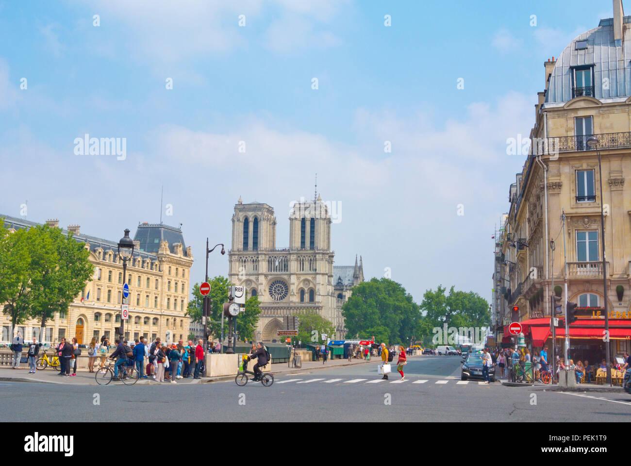 Place Saint Michel and Notre Dame church, at Pont Saint  Michel, Paris, France - Stock Image