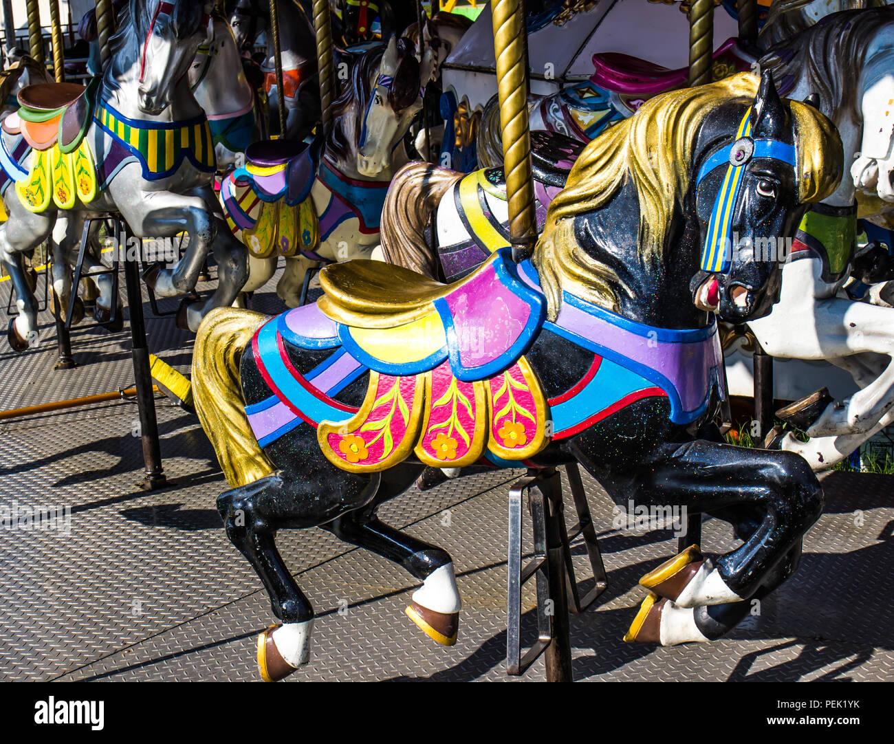 Black Horse On Merry Go Round Carousel Stock Photo Alamy