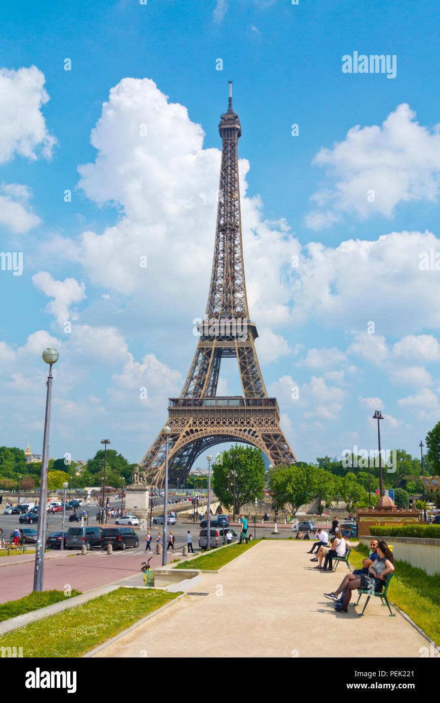 Eiffel tower, seen from Trocadero, Paris, France - Stock Image