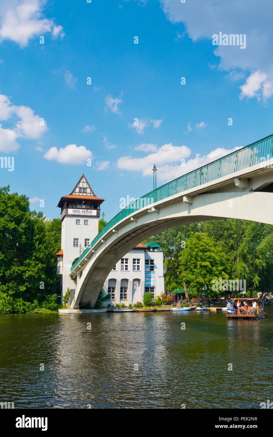 Bridge leading to Insel der Jugend, Treptower Park, Alt-Treptow, Berlin, Germany Stock Photo