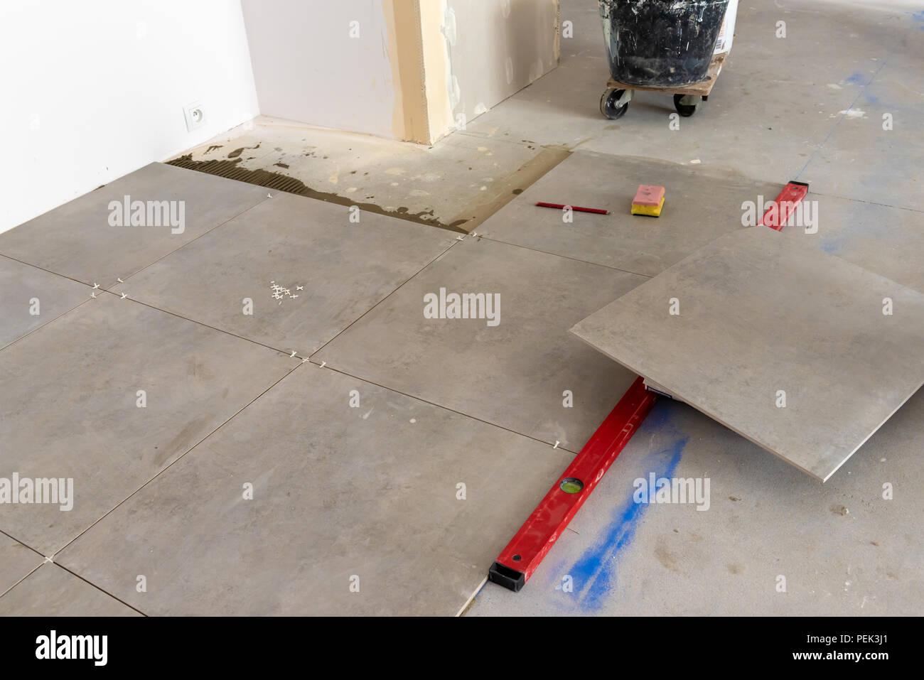 Floor Tiles Installation Home Improvement Renovation Ceramic Tile Adhesive