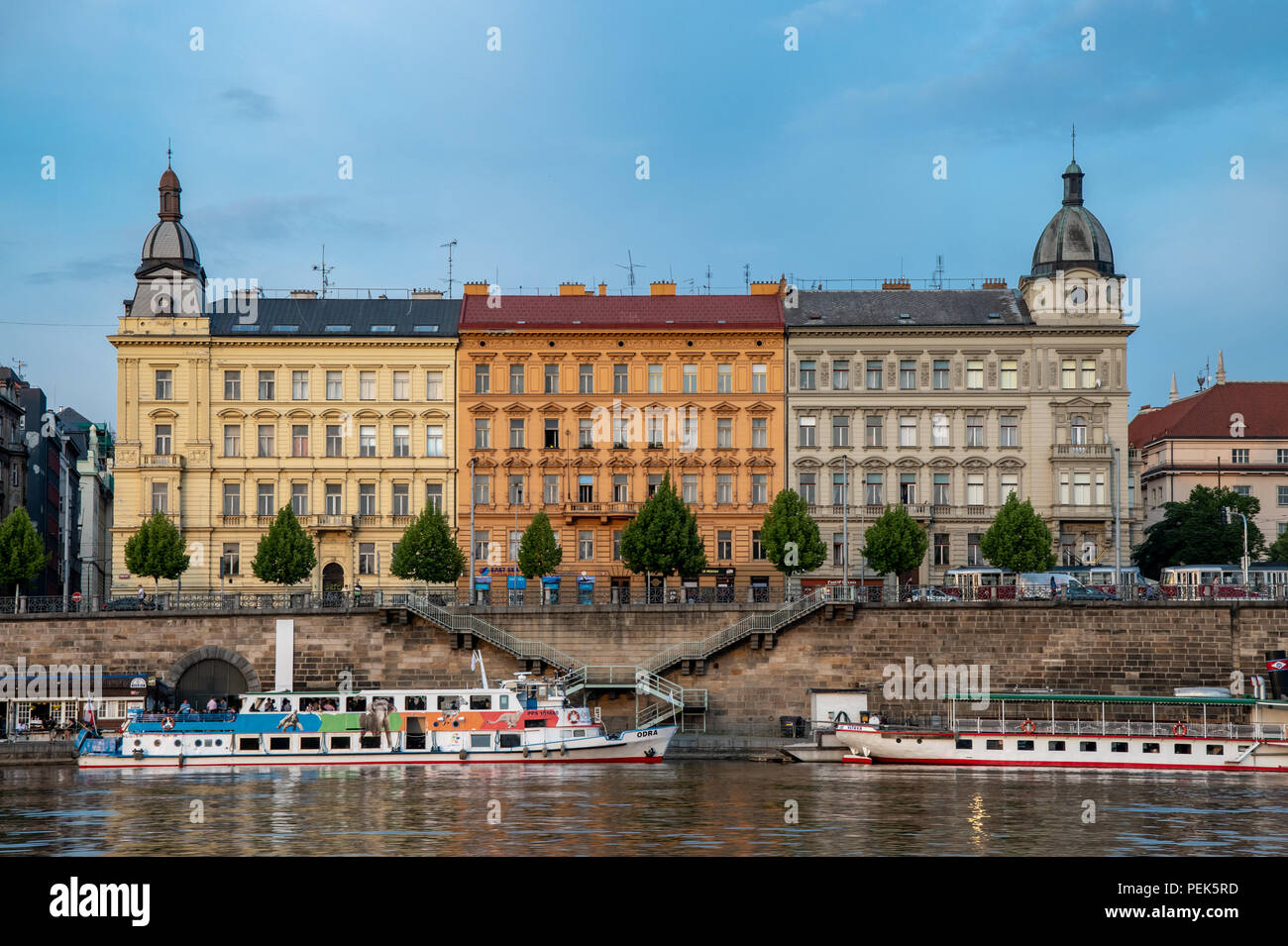 Docked river boats on Vlatava River in Prague, Czech Republic - Stock Image