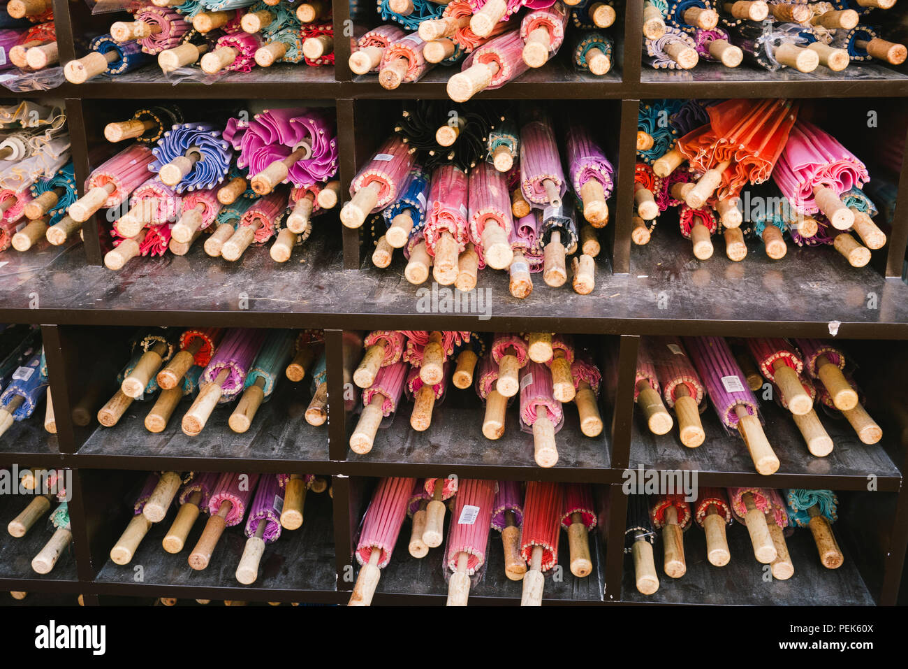 Parasol umbrellas at a market stall Stock Photo