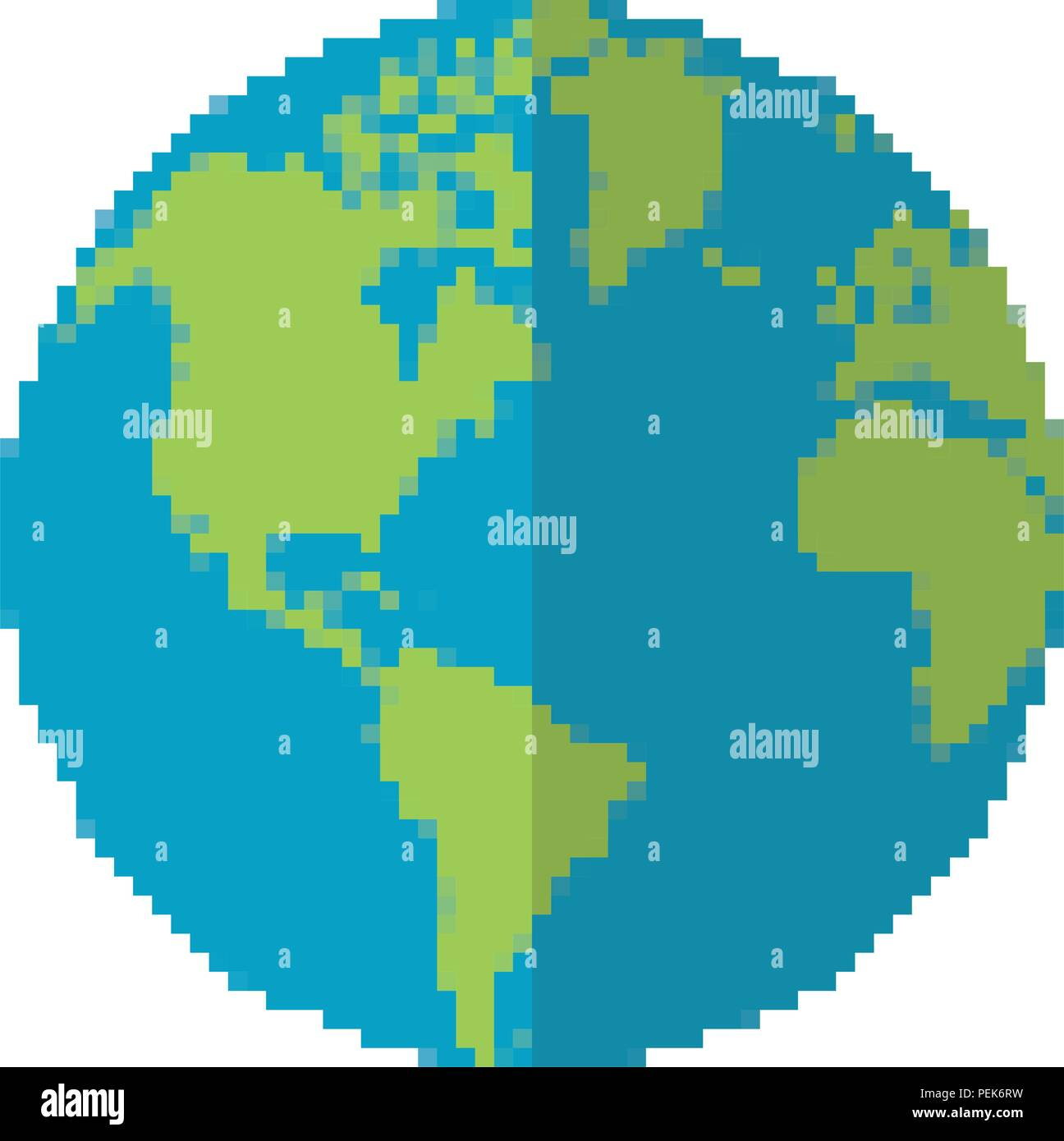 pixelated earth planet word map - Stock Image