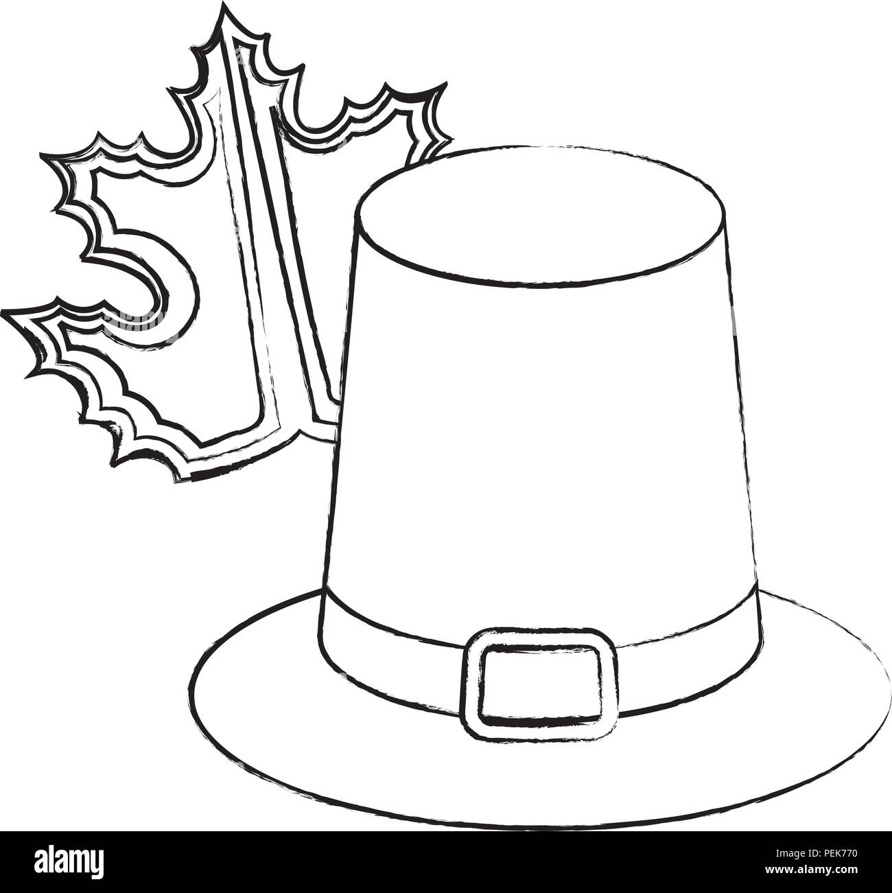 colonial decoration black and white stock photos images alamy Colonial Paper Hats pilgrim hat and dry leaf over white background vector illustration stock image