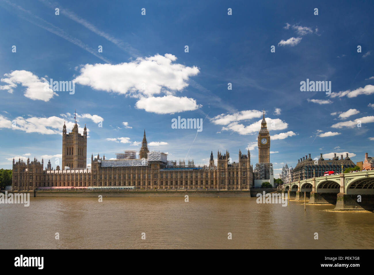 London, United Kingdom – August 13, 2017: Big Ben (Elizabeth Tower) and Palace of Westminster undergo renovation and conservation work Stock Photo