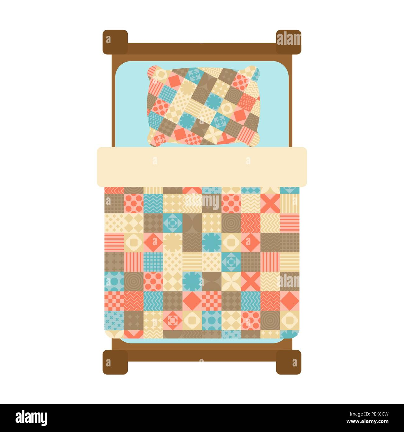 Quilted Blanket On Bed Patchwork Quilt Hands Made Blanket Vector - Quilted-blankets-for-the-bed