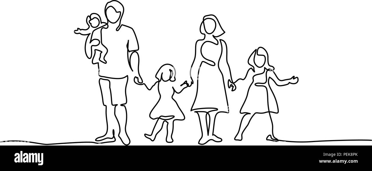 Continuous one line drawing. Happy family father and mother with three children. Vector illustration. - Stock Vector