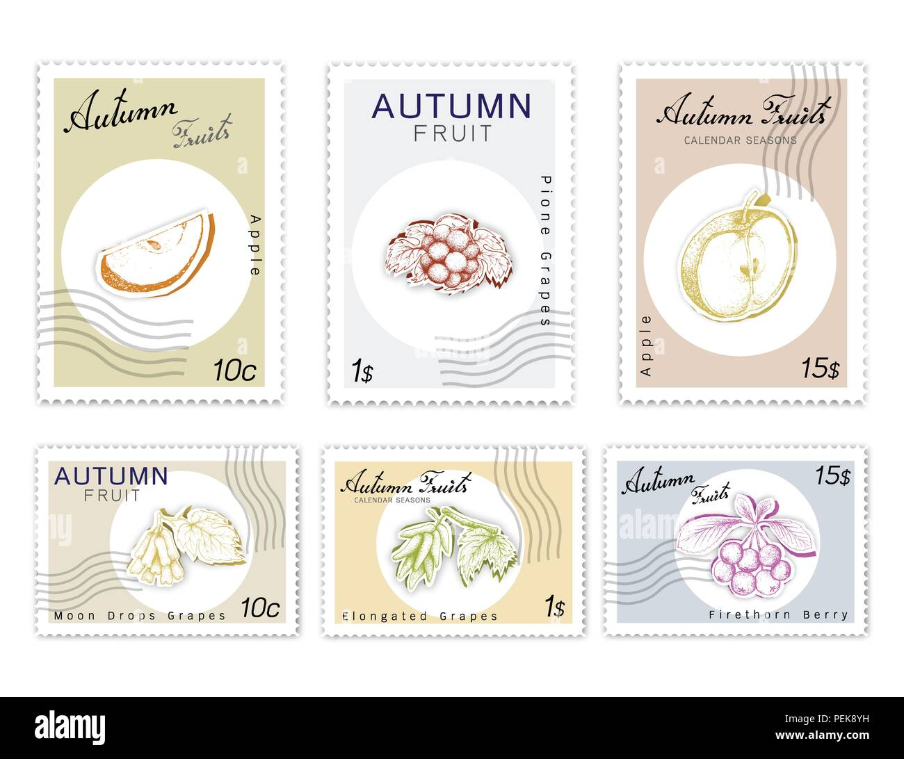 Autumn Fruits, Post Stamps Set of Hand Drawn Sketch Elongated or Witch Fingers Grapes with Moon Drops, Pione Grapes, Apple and Firethorn Berries in Or Stock Vector