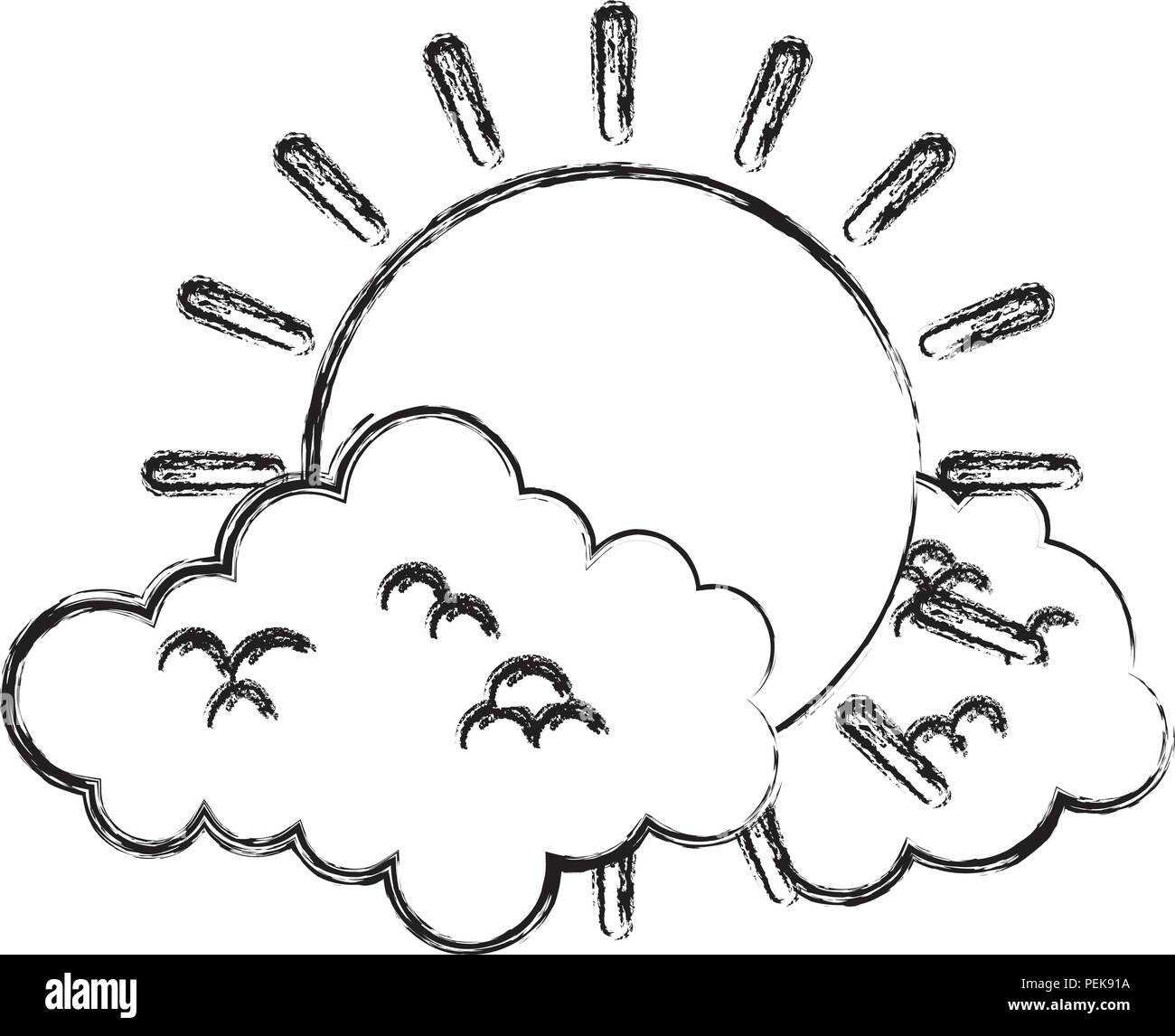 grunge bright sun weather and fluffy clouds - Stock Image