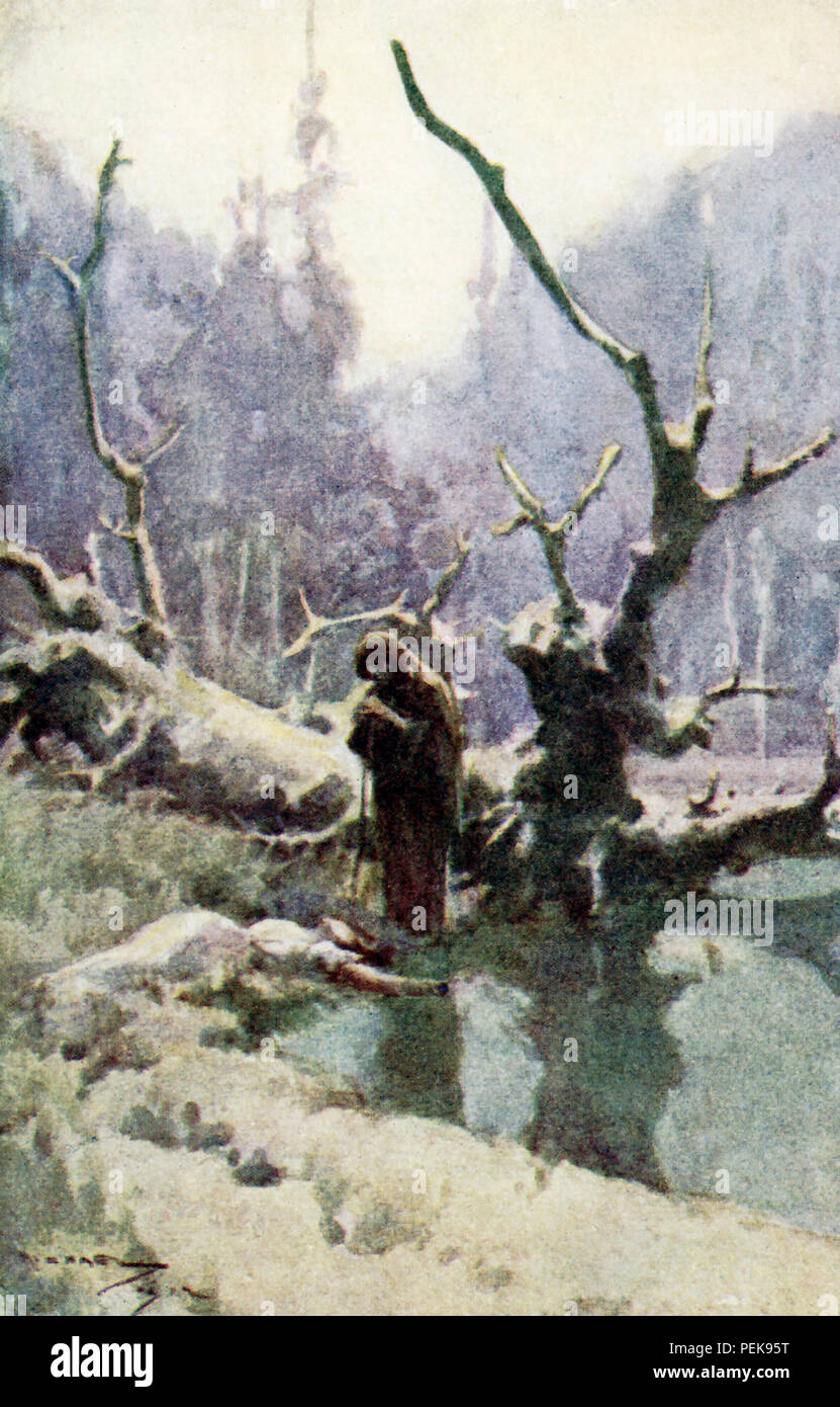 "This illustration dates to the early 1900s and shows a witch and a lady in the woods. The scene is from Nathaniel Hawthorne's Twice-Told Tales and the tale is The Hollow of the Three Hills. The caption reads: When the old woman stirred the kneeling lady she lifted not her head. 'Here has been a sweet hour's spot,"" said the withered crone, chuckling to herself. Stock Photo"