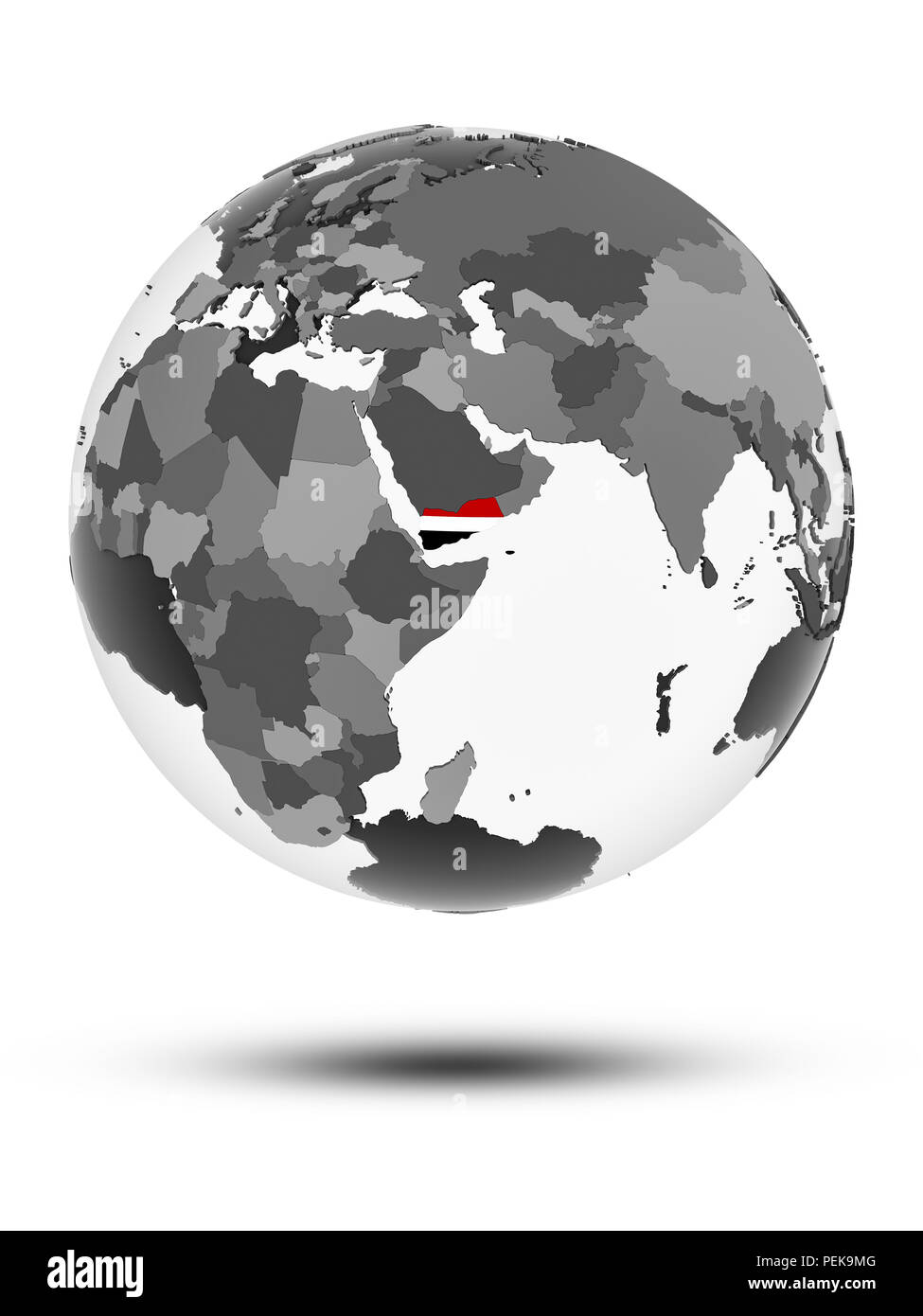 Yemen with flag on globe with shadow isolated on white background. 3D illustration. - Stock Image