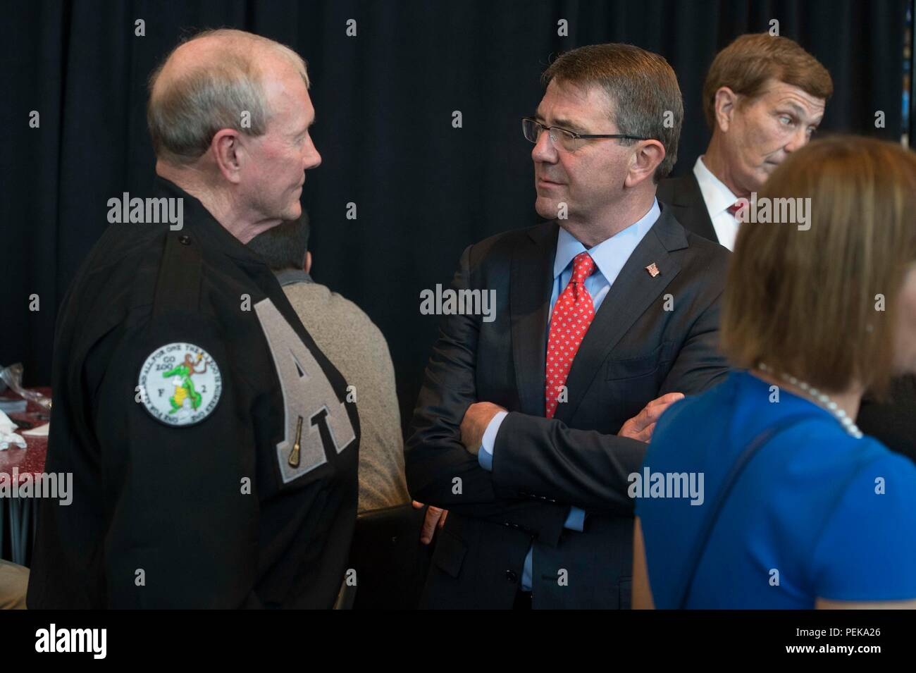Secretary of Defense Ash Carter meets with former Chairman of the Joint Chiefs of  Staff Gen. Martin Dempsey at the 2015 Army Navy Game in Philadelphia, Dec. 12, 2015.  (DoD photo by Mass Communication Specialist 1st Class Tim D. Godbee)(Released) - Stock Image