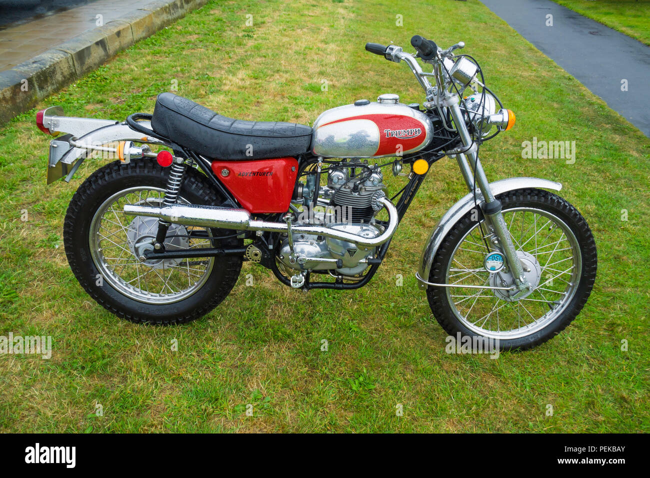Triumph Trophy 500cc twim Trail motorbike Stock Photo