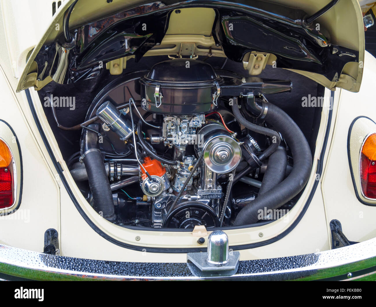 Immaculately clean engine compartment of a traditional 4 cylinder air cooled Volkswagen Car Stock Photo
