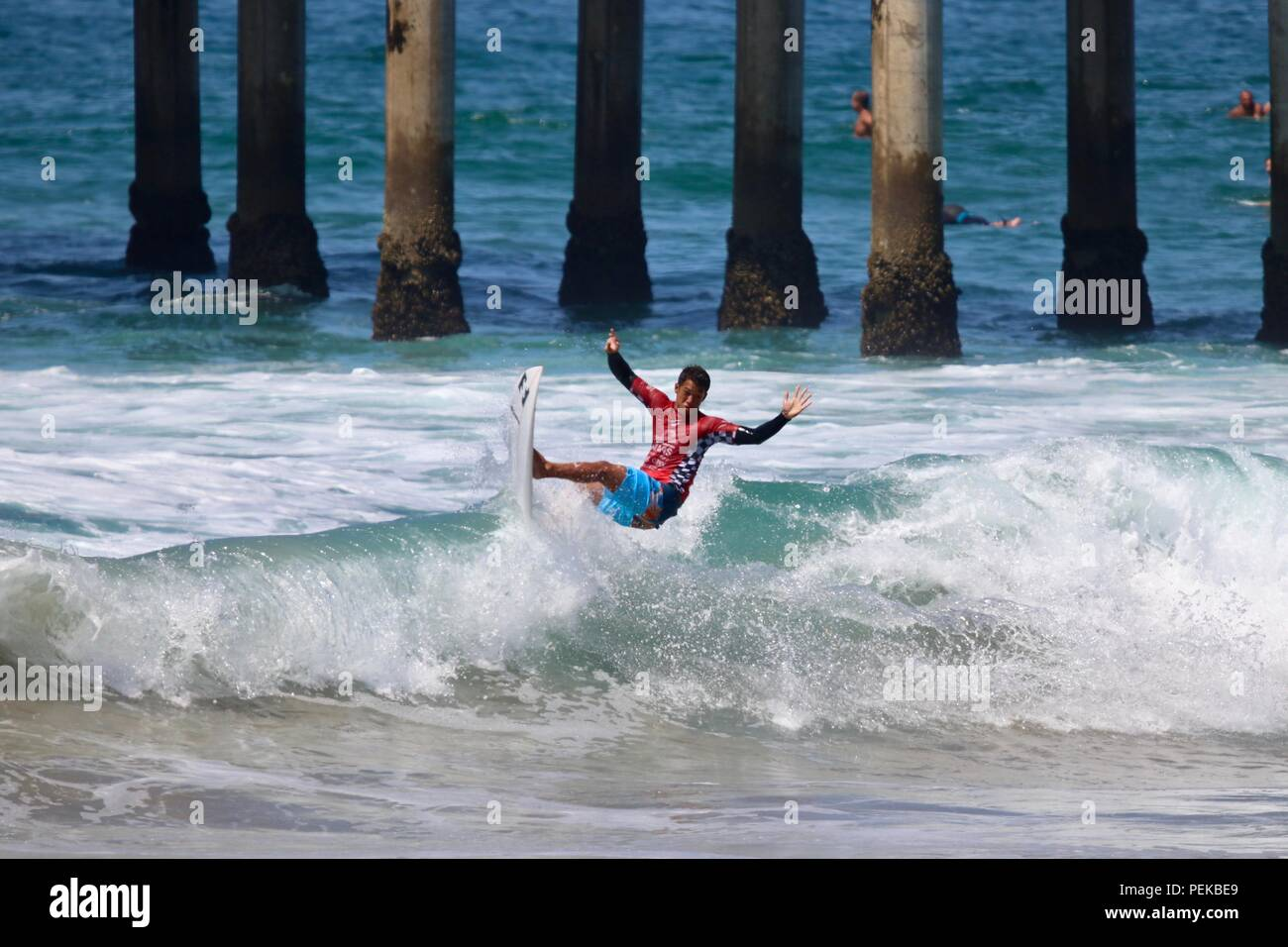 Seth Moniz competing in the US Open of Surfing 2018 - Stock Image