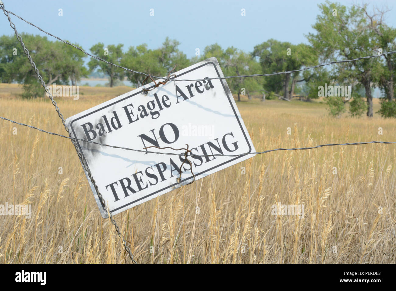 No trespassing sign to protect bald eagle nesting area from disruption by setting boundaries for humans to keep their distance in wildlife refuge Stock Photo