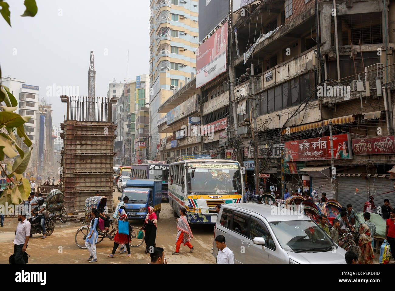 Construction work of Moghbazar-Mouchak flyover in Dhaka, Bangladesh - Stock Image