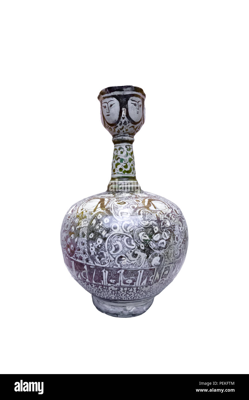 Ceramic ewer, lustre painted, 13th century AD, Kasahan, glass and ceramics museum, Tehran, Iran Stock Photo