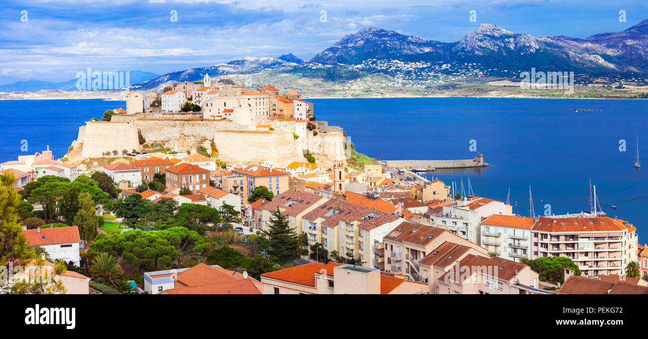 Beautiful Calvi town,view with old castle and sea,Corsica,France. - Stock Image