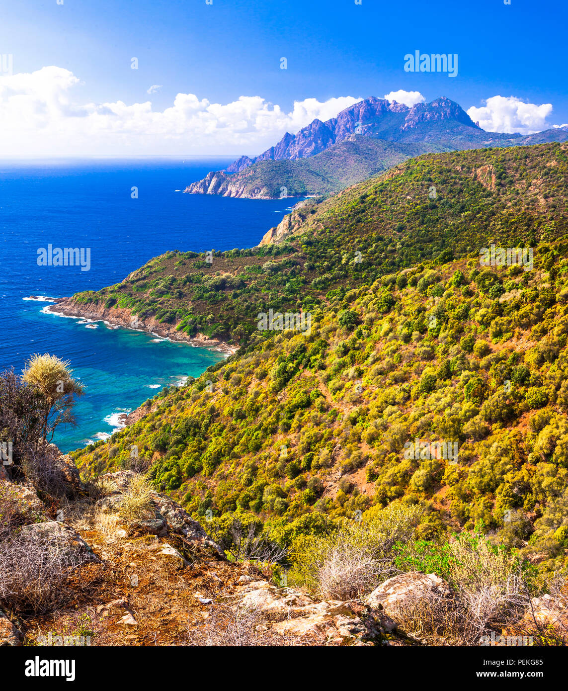 Impressive scenic landscape,view with mountains and sea,Calanques,Corsica,France. - Stock Image