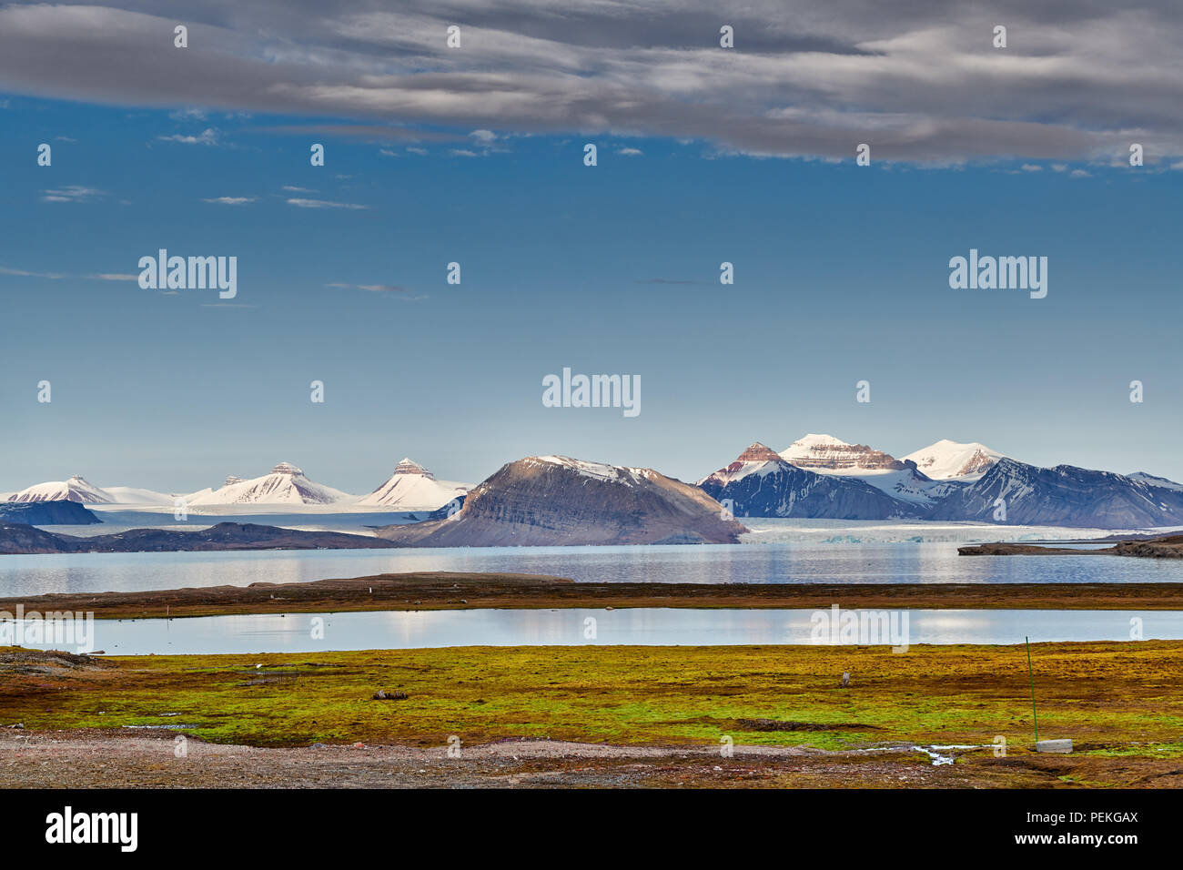 view from the Northernmost civilian and functional settlement Ny-Ålesund on the landscape with the three crones, Svalbard or Spitsbergen, Europe - Stock Image