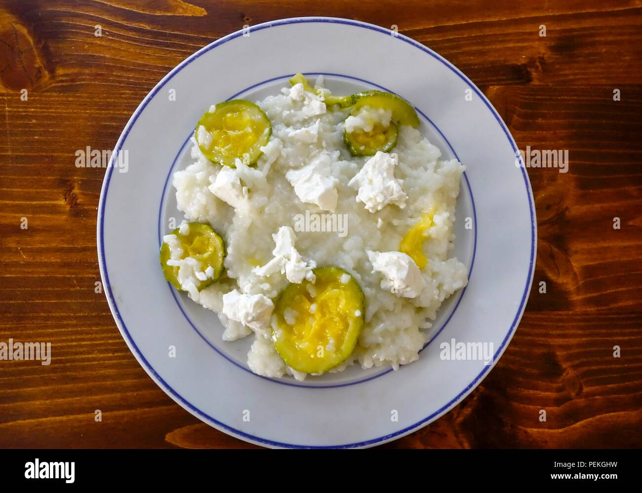 Cougette with Rice and Feta Cheese - Stock Image