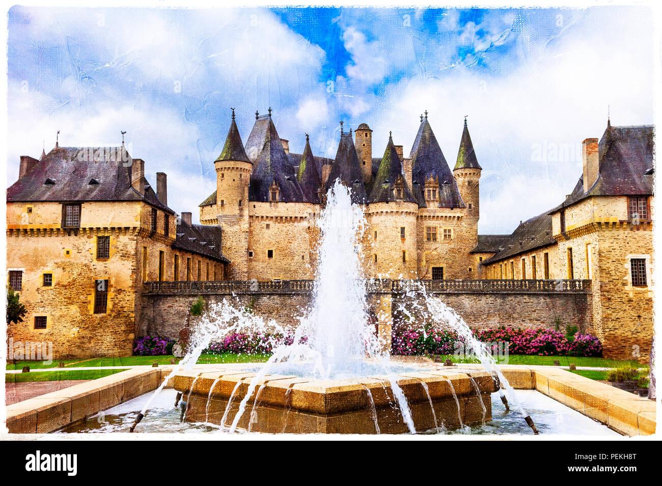 Elegant Jumilhac le grand,medieval castle,France. - Stock Image